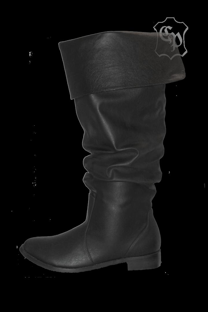 Mittelalterliche Piratenstiefel, schwarz