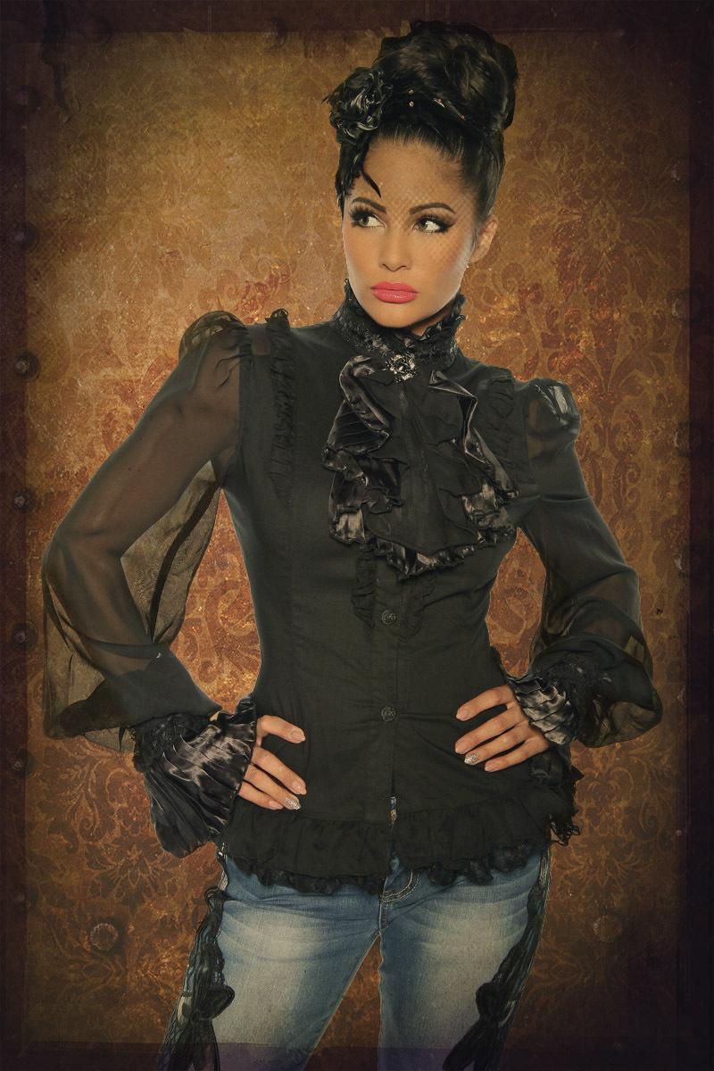bluse mit jabot schwarz xxl dein larp shop mittelalter larp und fantasy shop. Black Bedroom Furniture Sets. Home Design Ideas